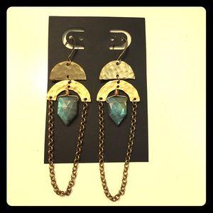 Labradorite & Hammered Brass earrings